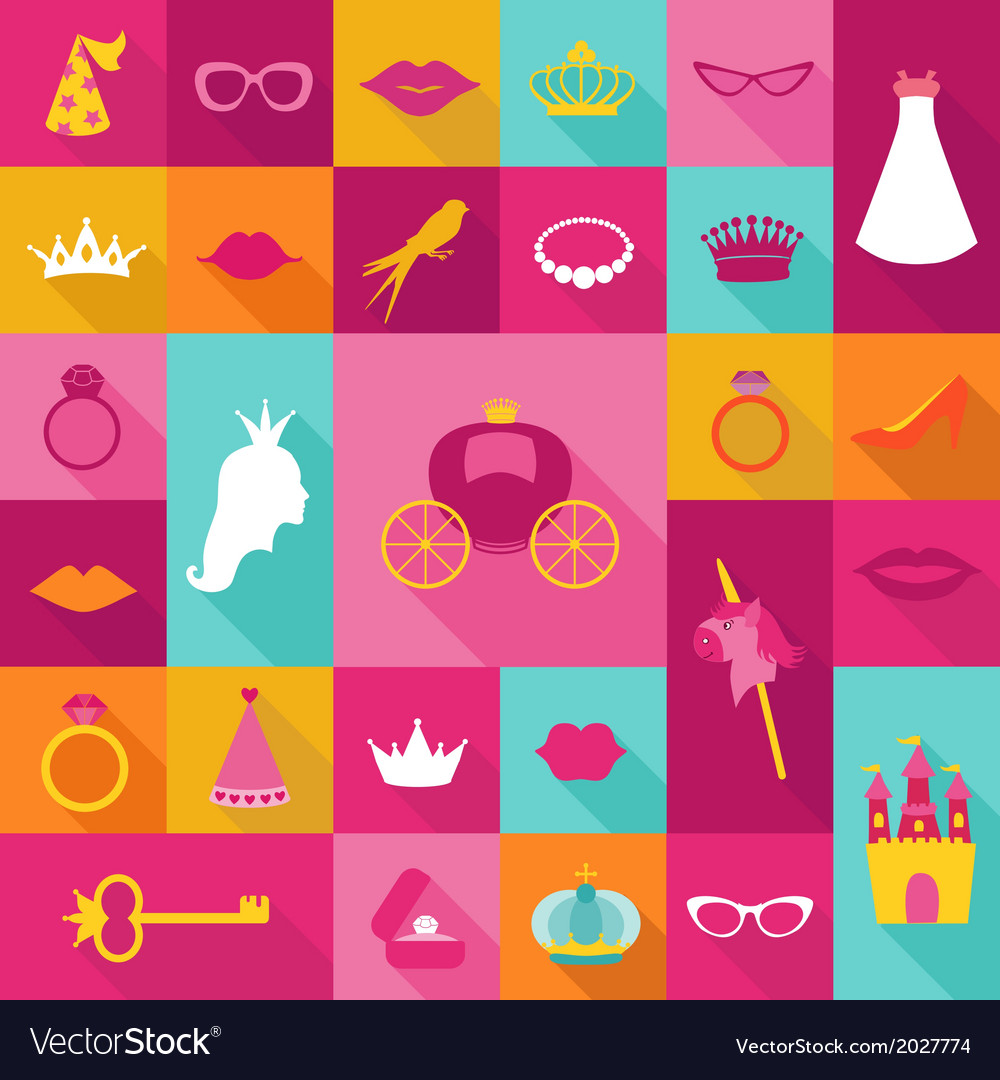 Priness flat icons set - crown lips rings hats vector | Price: 1 Credit (USD $1)