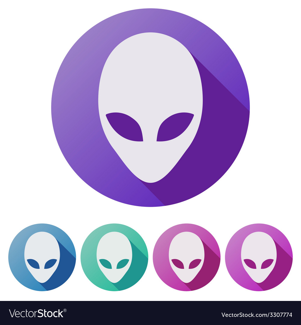 Set flat icons of alien head creature from another vector | Price: 1 Credit (USD $1)