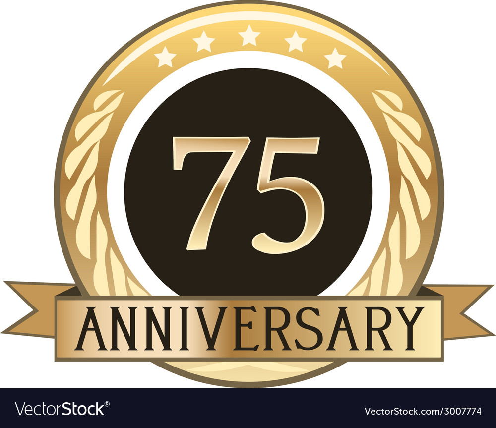 Seventy five year anniversary badge vector | Price: 1 Credit (USD $1)