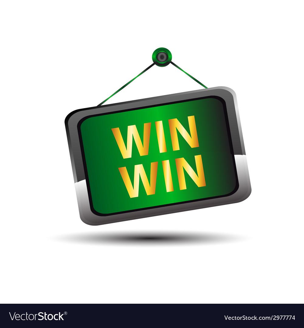 Win win icon buton label vector | Price: 1 Credit (USD $1)