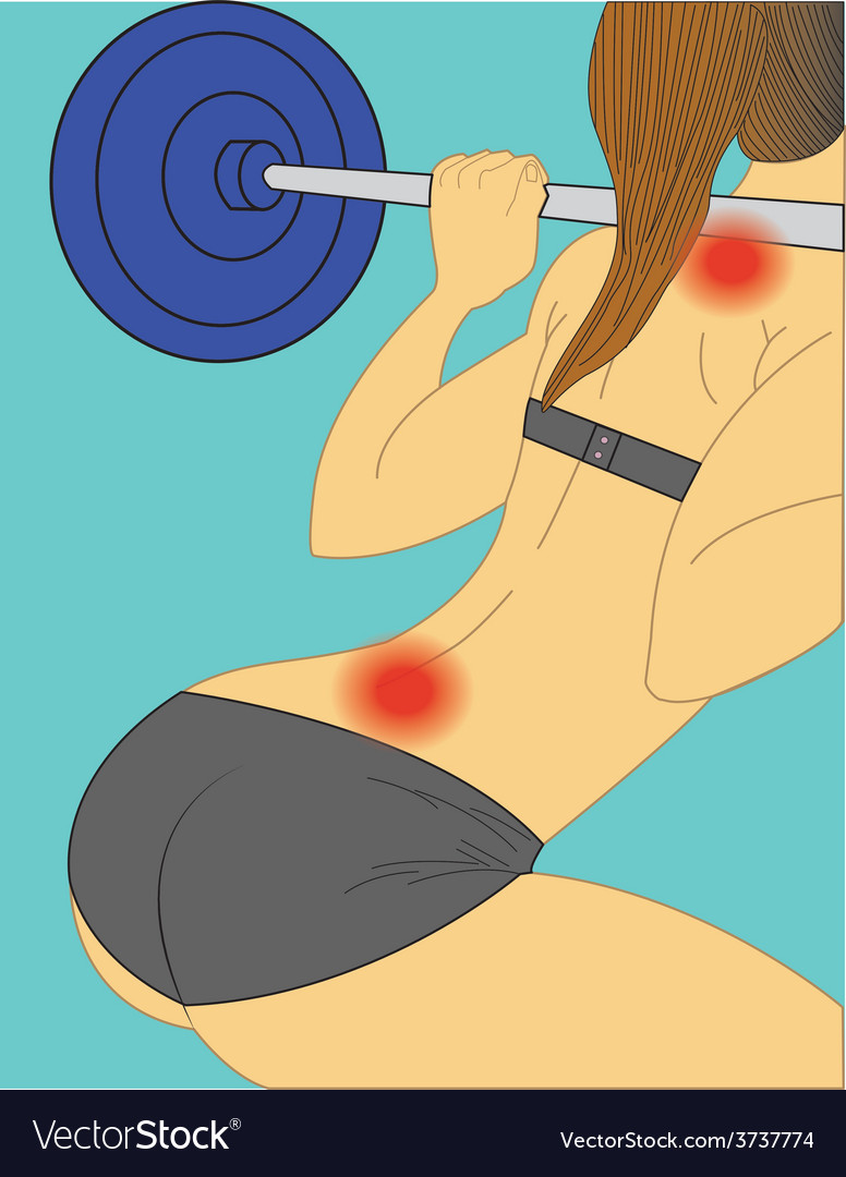 Woman injured by lifting weights vector | Price: 1 Credit (USD $1)
