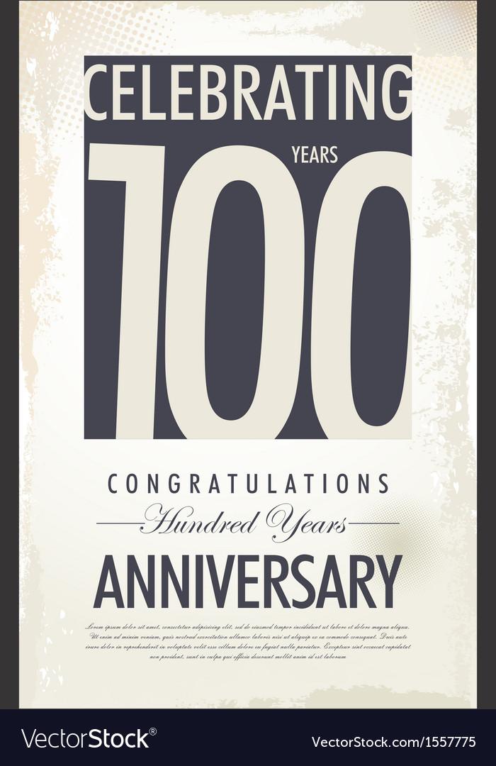 100 years anniversary retro background vector | Price: 1 Credit (USD $1)