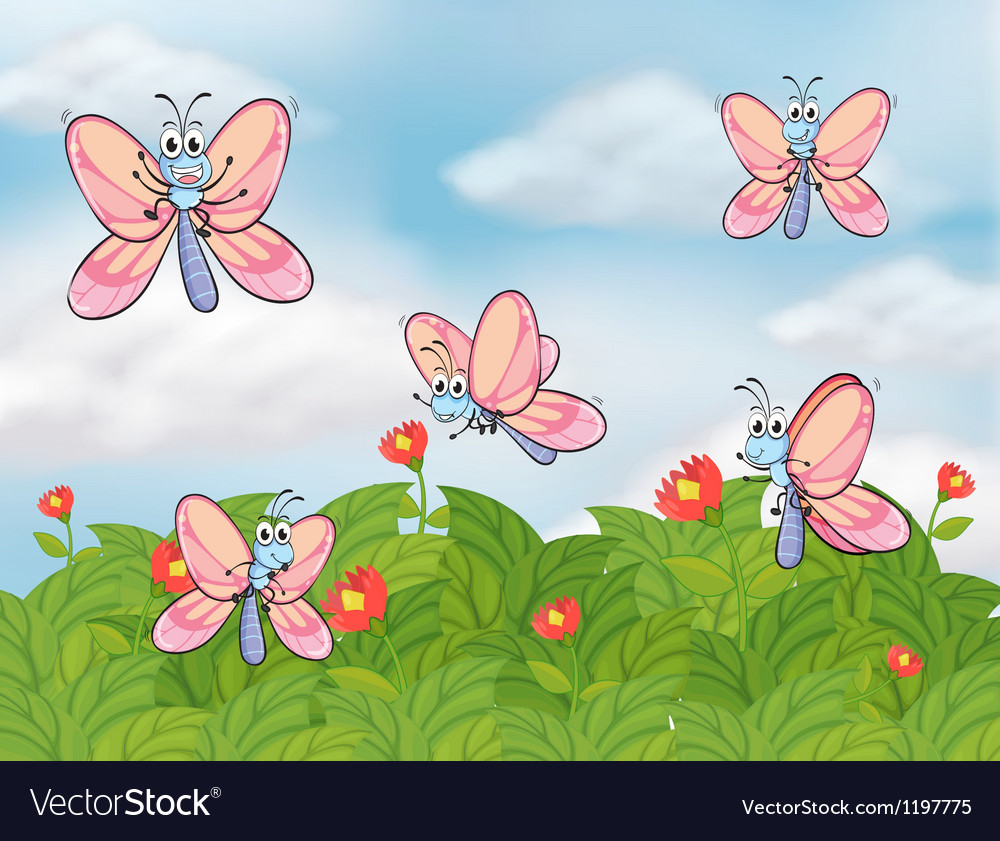 A garden with butterflies vector | Price: 1 Credit (USD $1)
