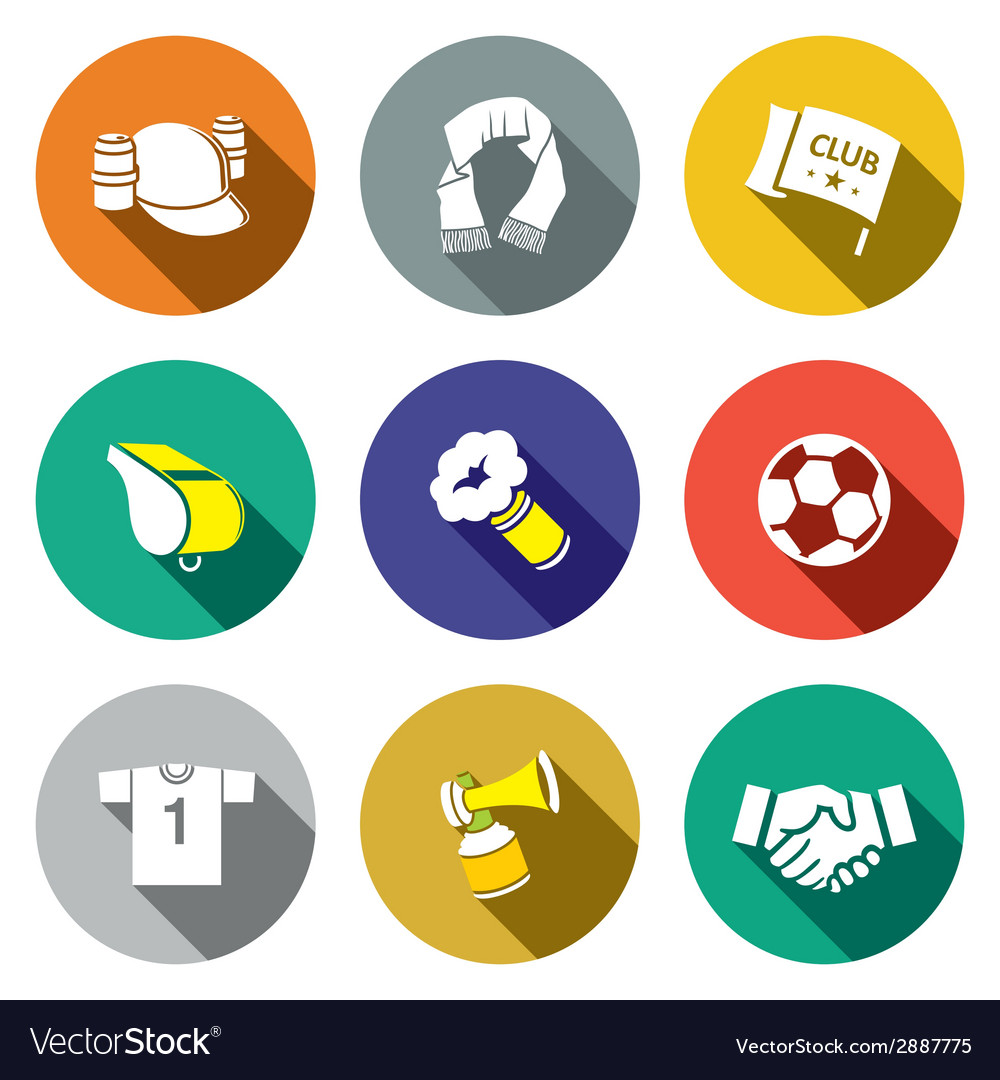 Attributes soccer fan icon collection vector | Price: 1 Credit (USD $1)