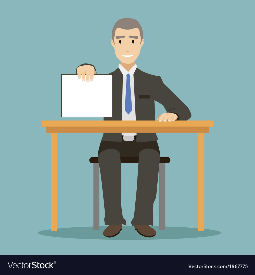 Flat design style businessman sitting at table vector | Price: 1 Credit (USD $1)