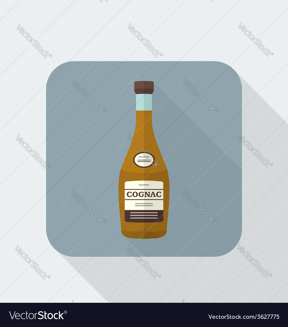Flat style cognac bottle icon with shadow vector | Price: 1 Credit (USD $1)