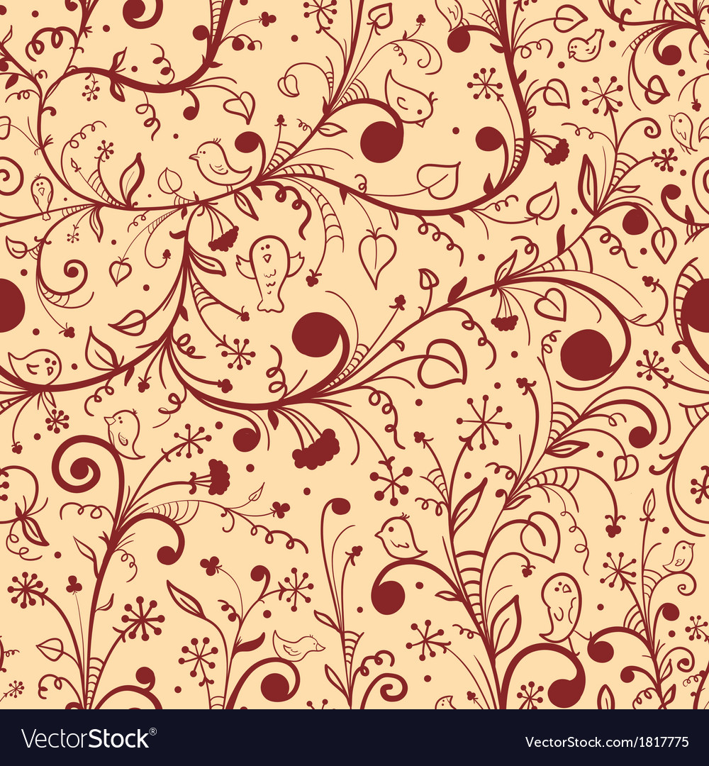 Floral seamless pattern on light background vector | Price: 1 Credit (USD $1)