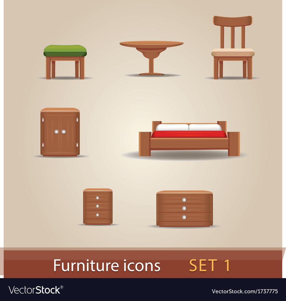 Furniture icons - set 1 vector | Price: 1 Credit (USD $1)
