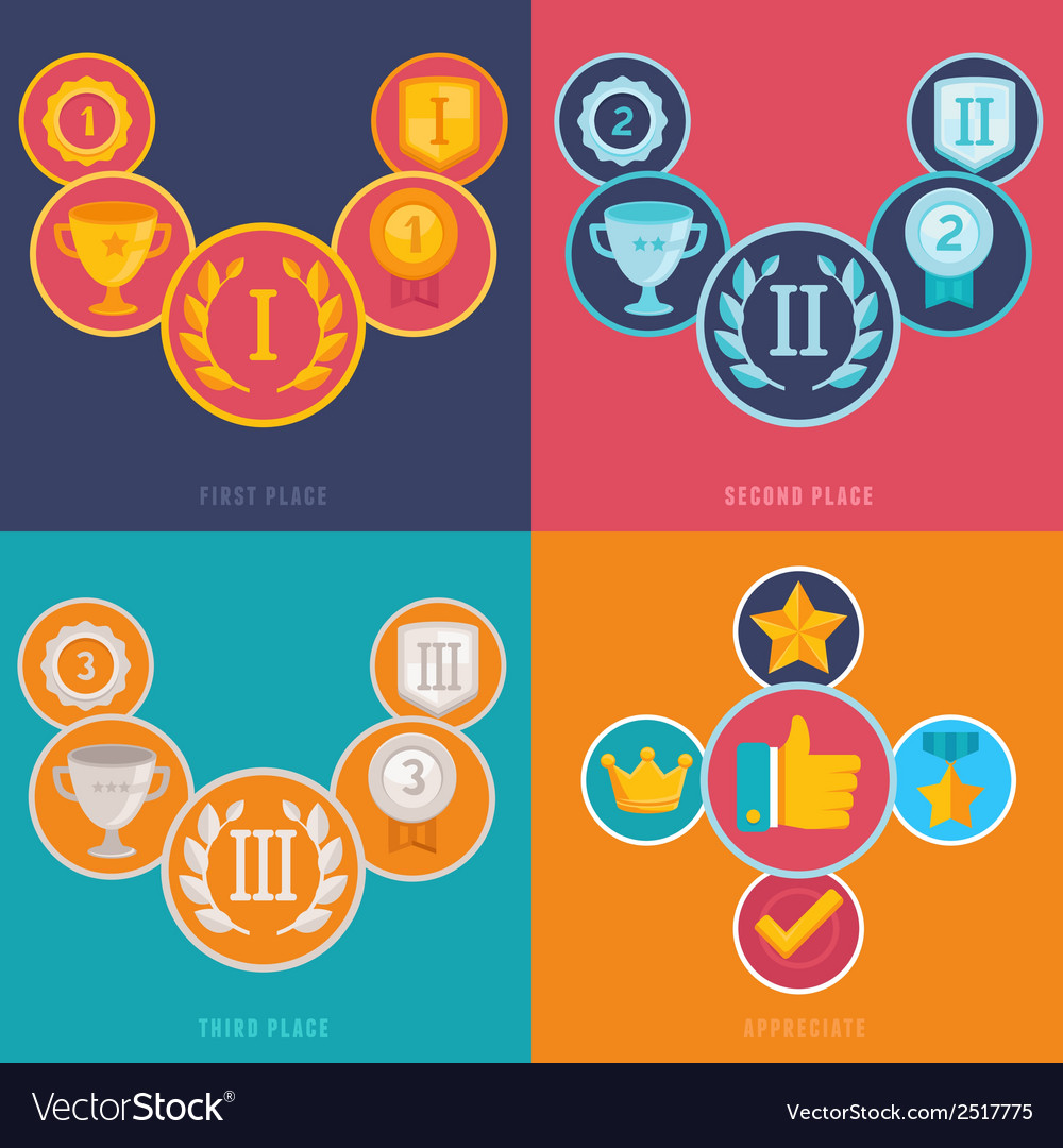 Gamification icons in flat style vector | Price: 1 Credit (USD $1)