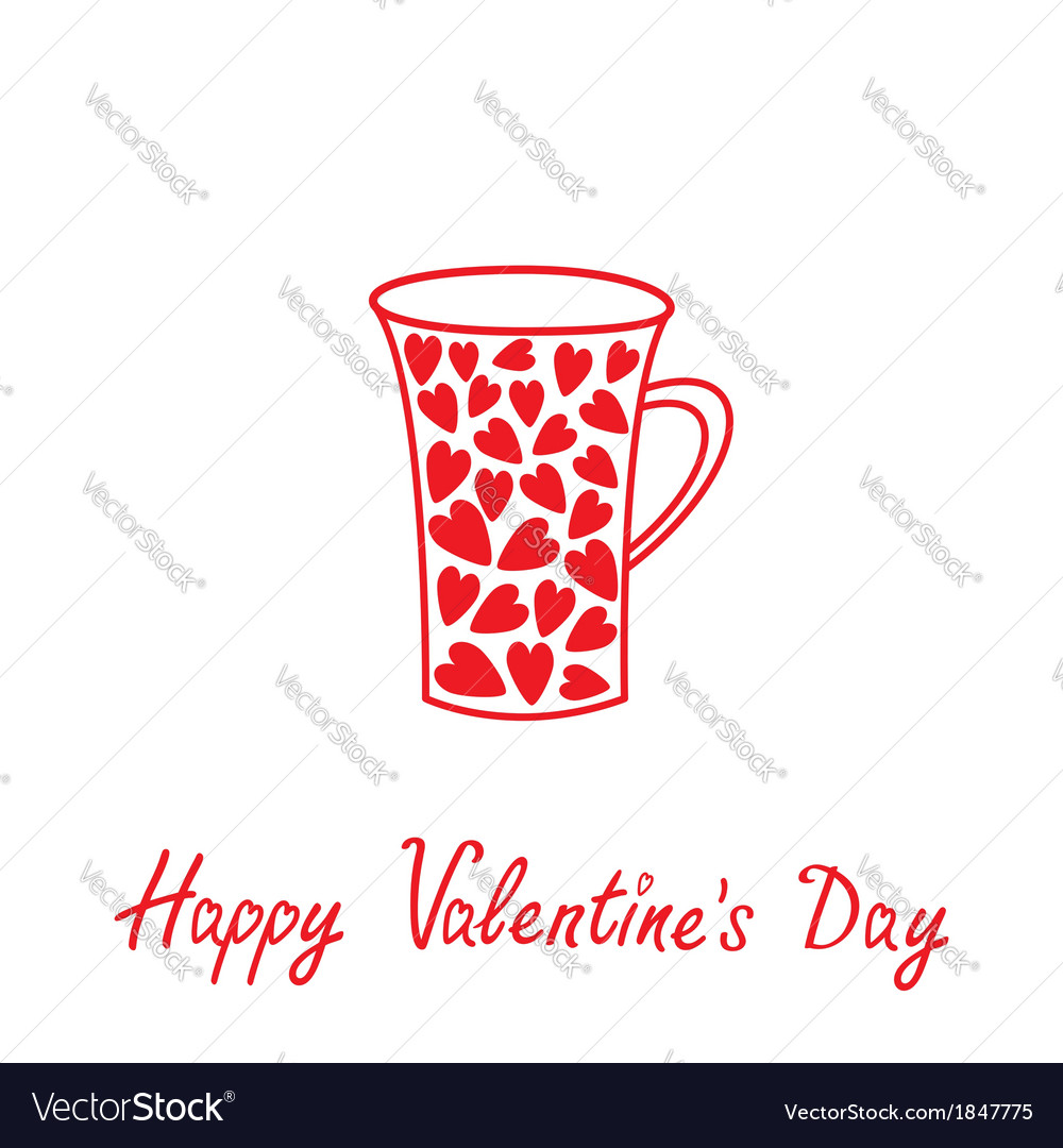 Love mug with hearts happy valentines day vector | Price: 1 Credit (USD $1)