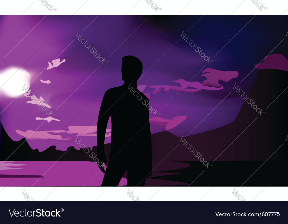 Mans silhouette and sunset vector | Price: 1 Credit (USD $1)