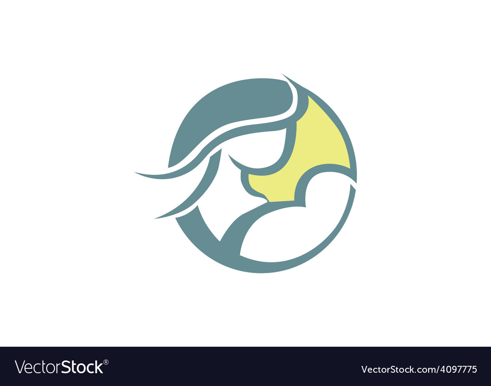 Mother and baby family relation abstract logo vector
