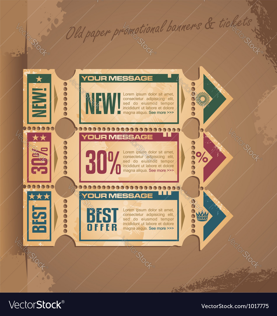 Old paper vintage banner design vector | Price: 1 Credit (USD $1)