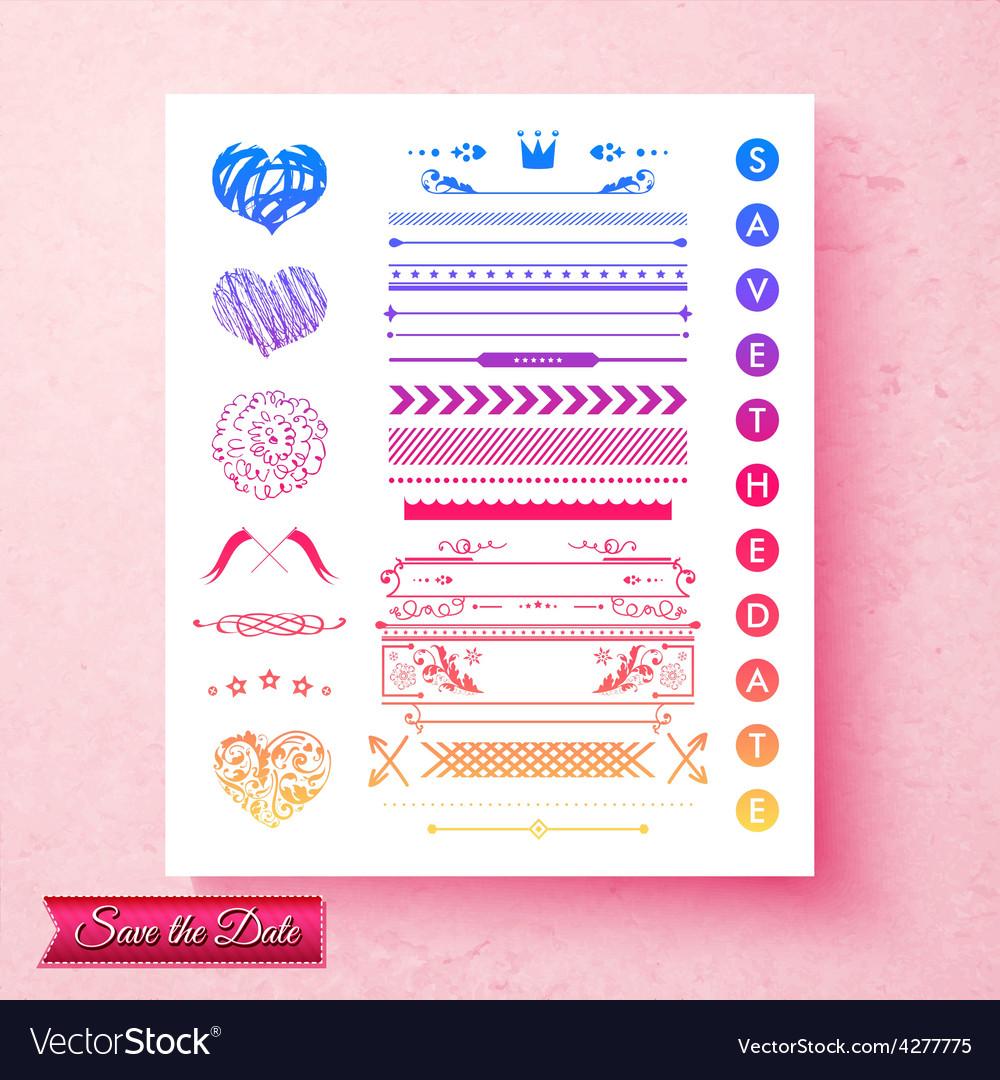 Pretty decorative wedding invitation elements vector | Price: 1 Credit (USD $1)