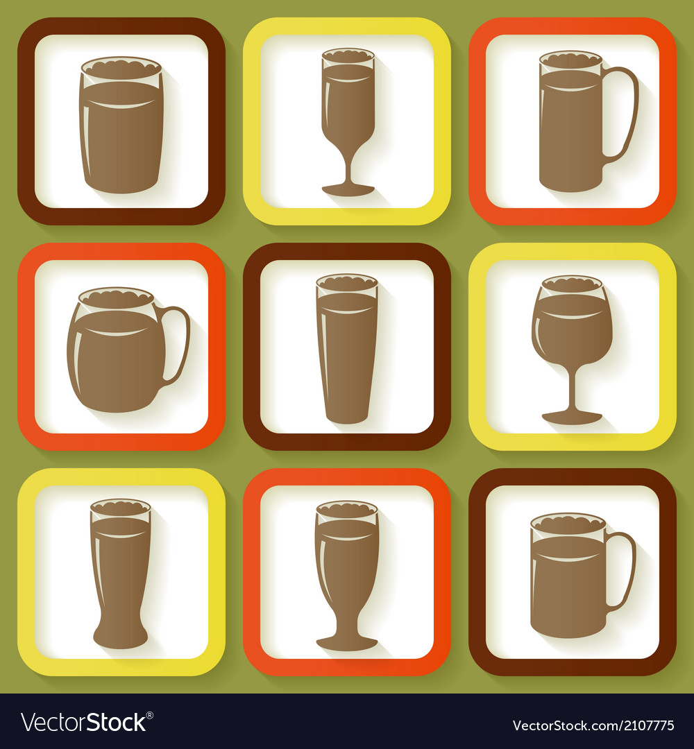 Set of 9 retro icons of beer glasses vector | Price: 1 Credit (USD $1)