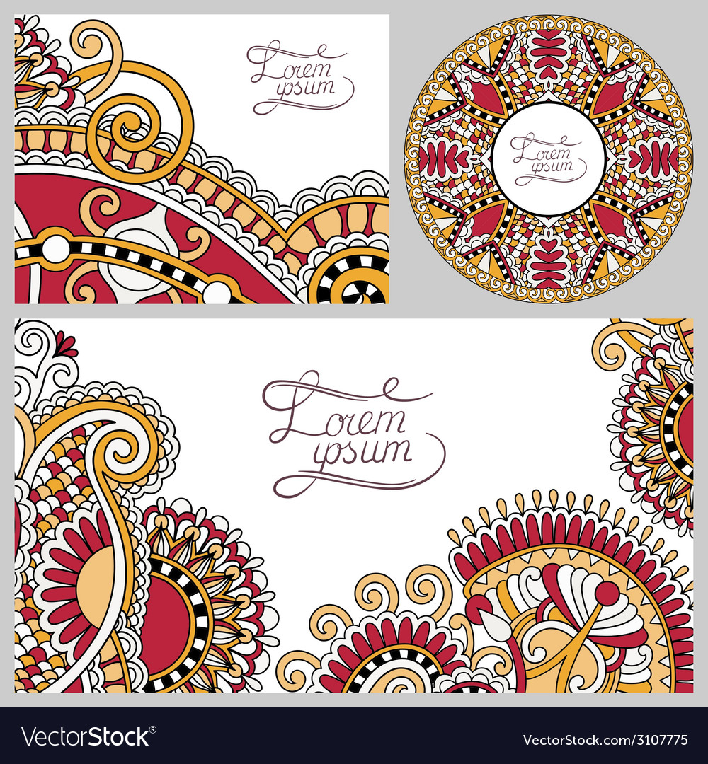 Set of floral decorative background template frame vector | Price: 1 Credit (USD $1)