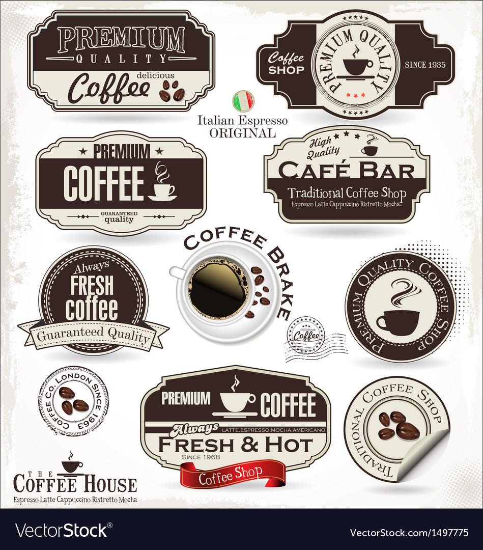 Set of retro vintage coffee labels vector | Price: 3 Credit (USD $3)