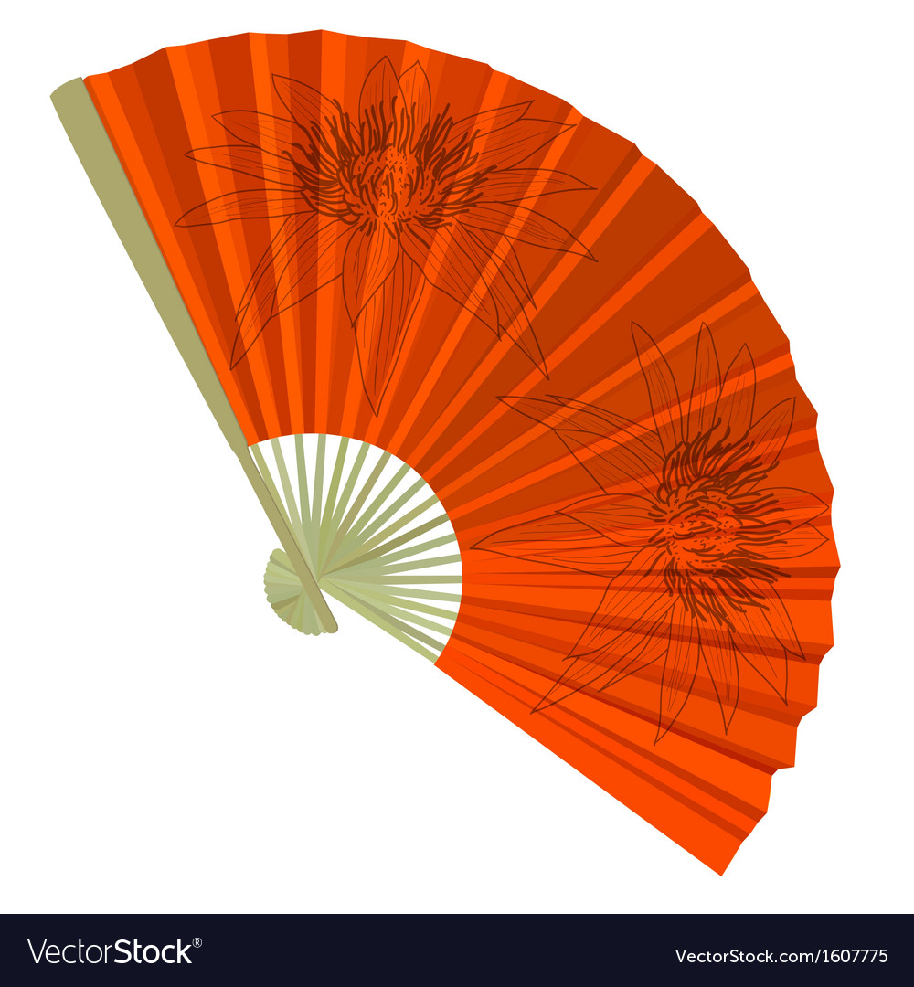 Traditional folding fans with a flower vector | Price: 1 Credit (USD $1)