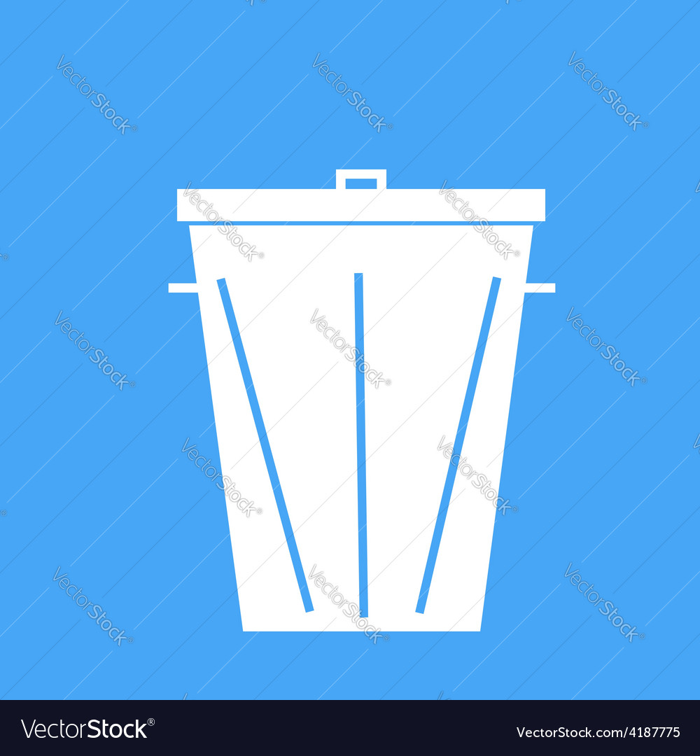Trash can on a blue background vector | Price: 1 Credit (USD $1)