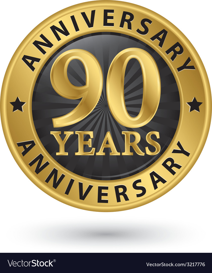 90 years anniversary gold label vector | Price: 1 Credit (USD $1)