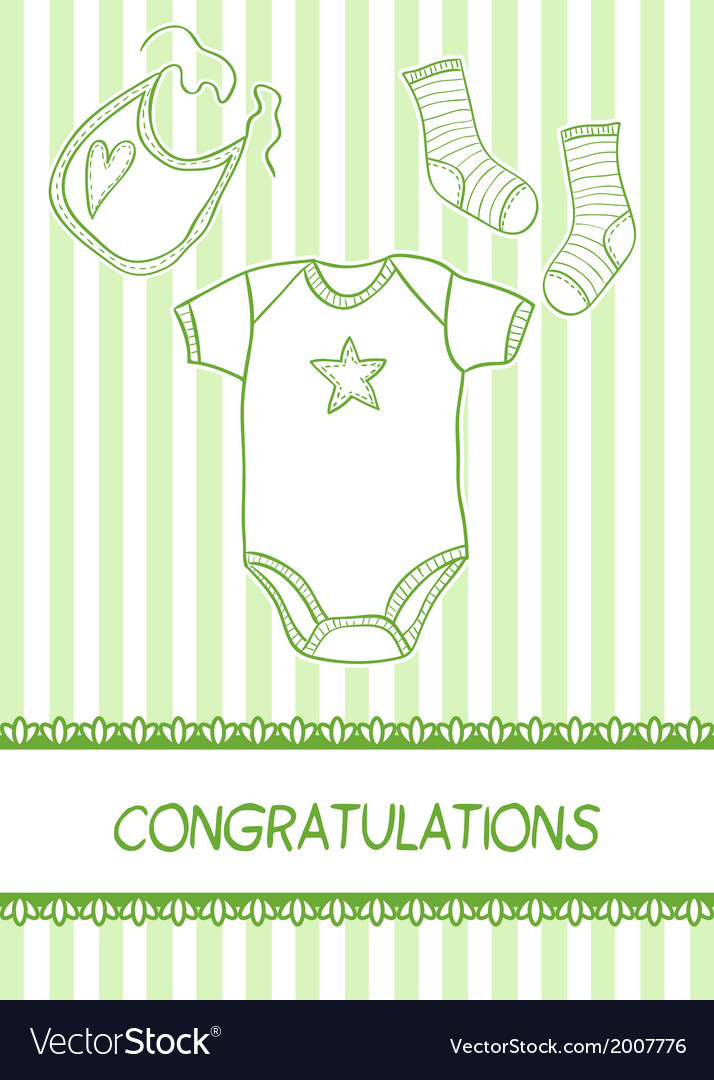 Baby arrival card with clothes vector | Price: 1 Credit (USD $1)