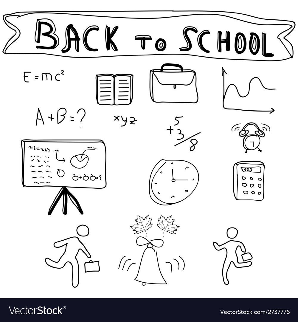 Back to school supplies sketchy doodles vector | Price: 1 Credit (USD $1)