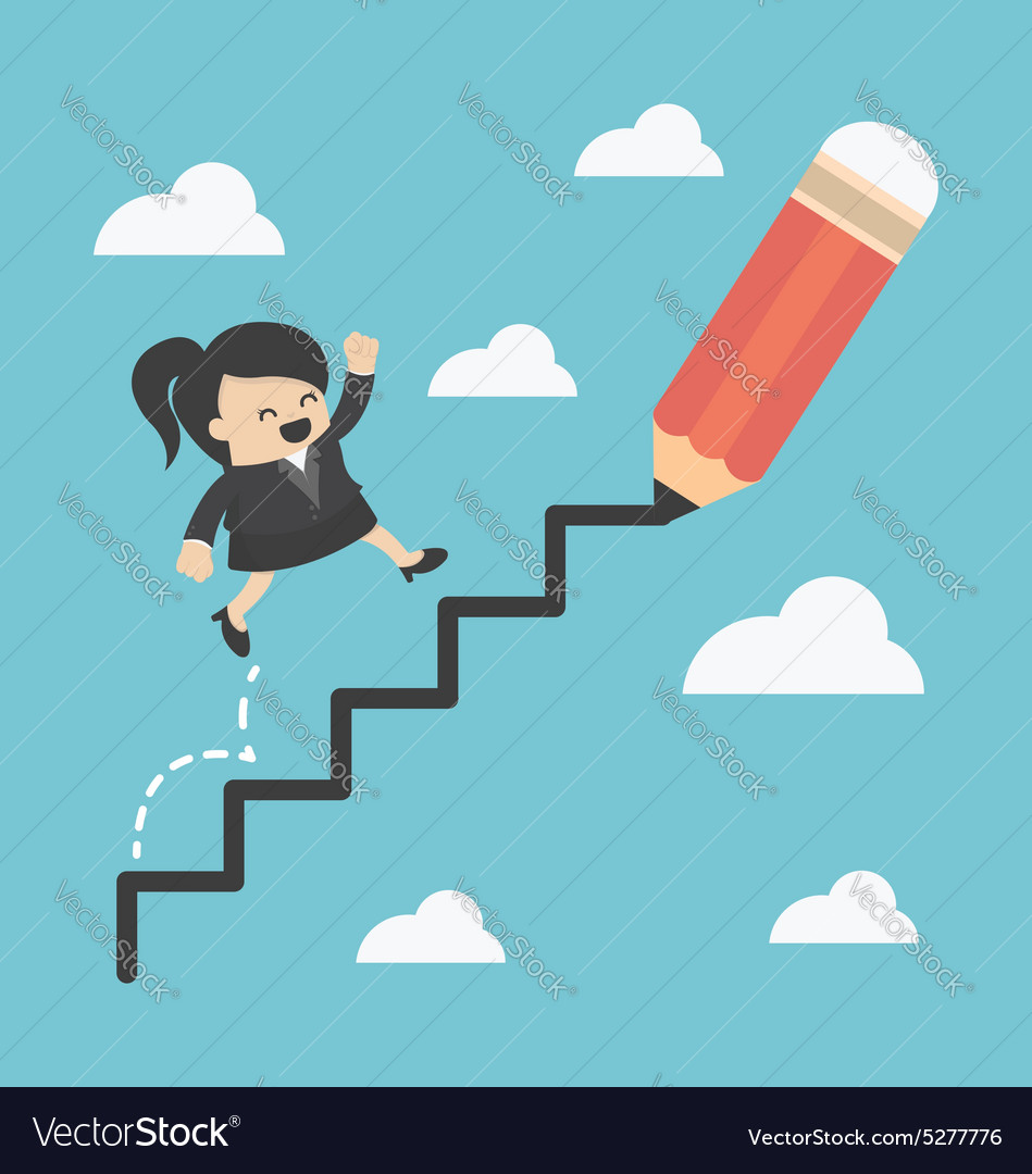 Business woman climbing ladder of success vector