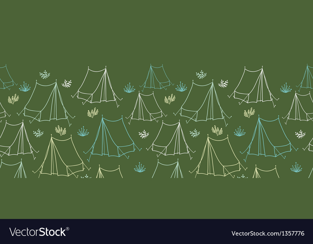 Camping horizontal seamless pattern background vector | Price: 1 Credit (USD $1)