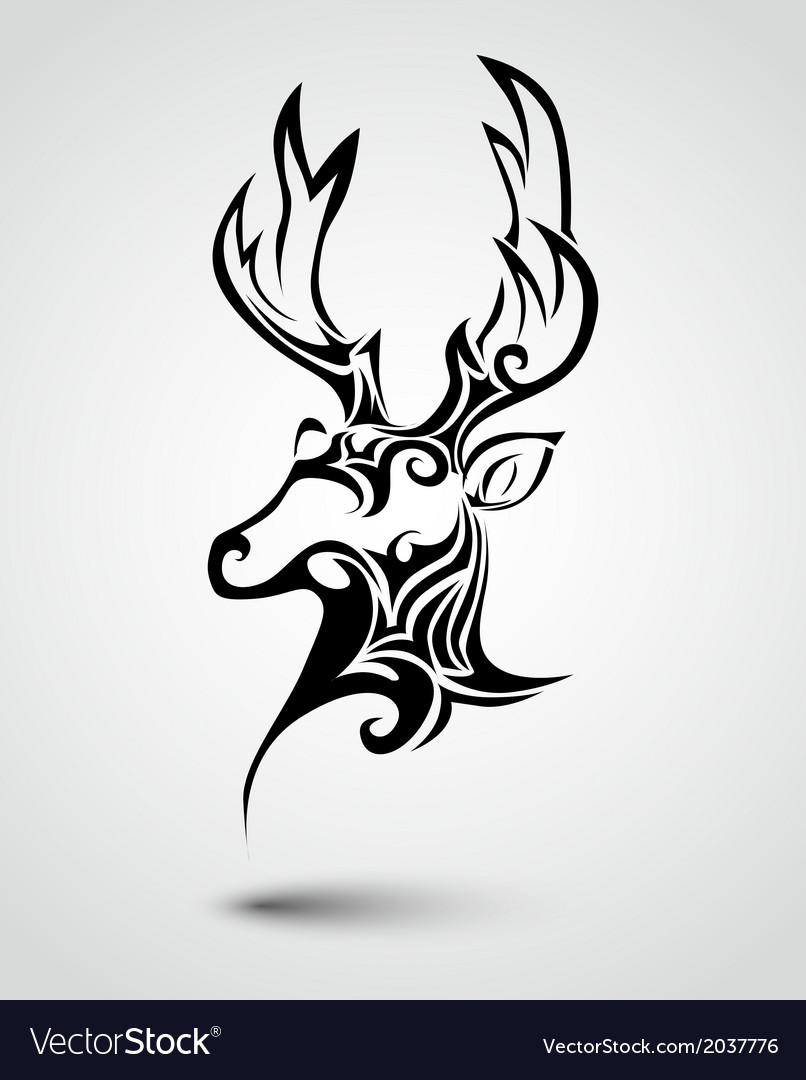Deer head tattoo vector | Price: 1 Credit (USD $1)