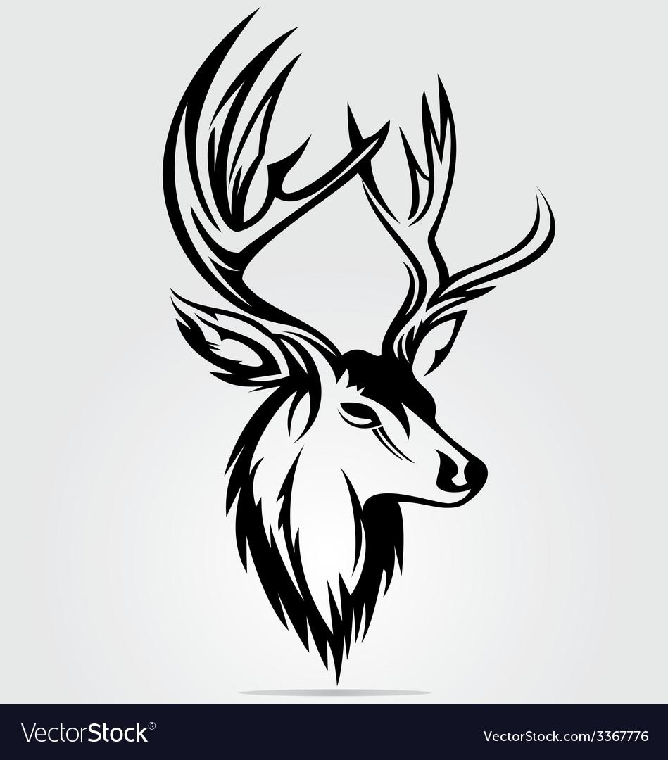 Deer head tribal vector | Price: 1 Credit (USD $1)