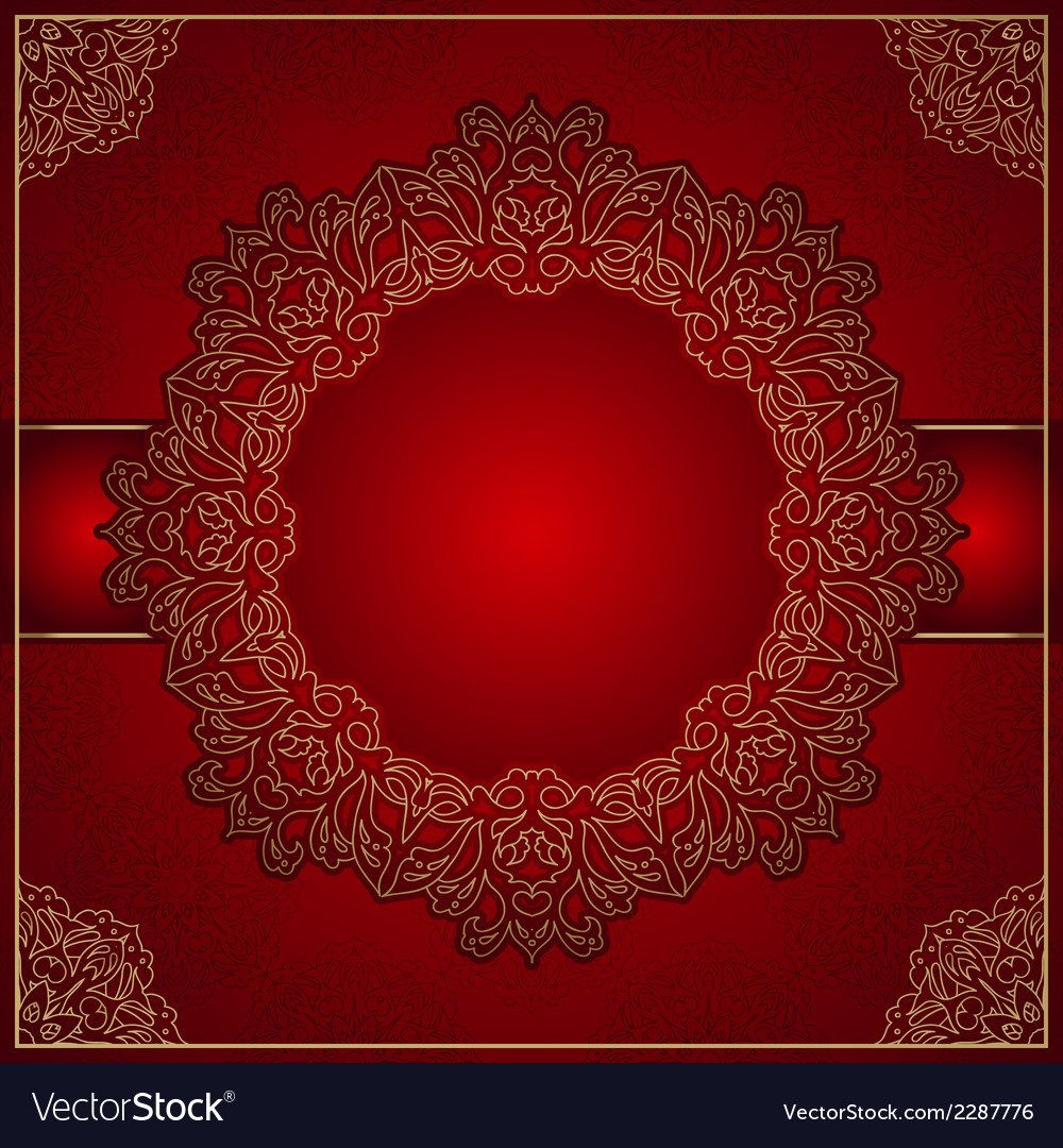 Elegant red background with gold ornament vector | Price: 1 Credit (USD $1)