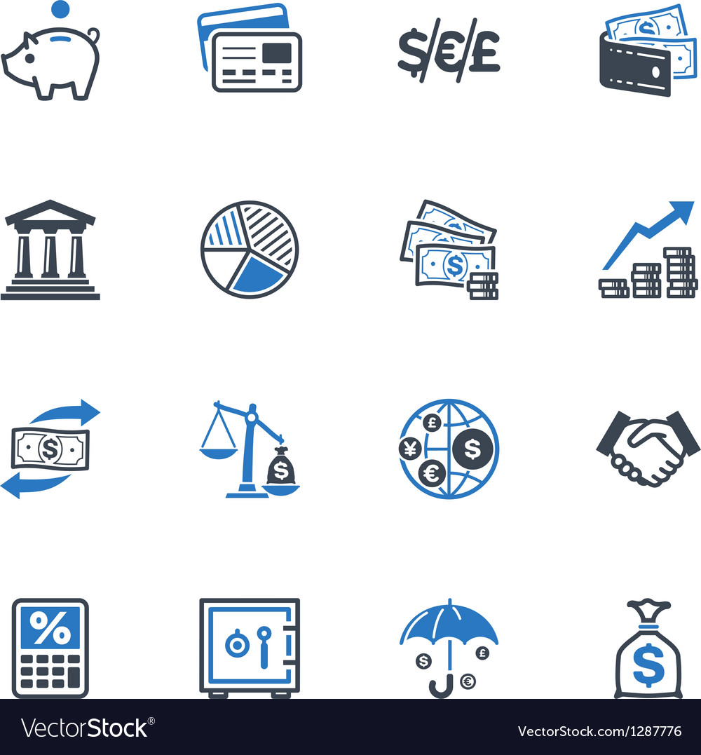 Finance icons  blue series vector