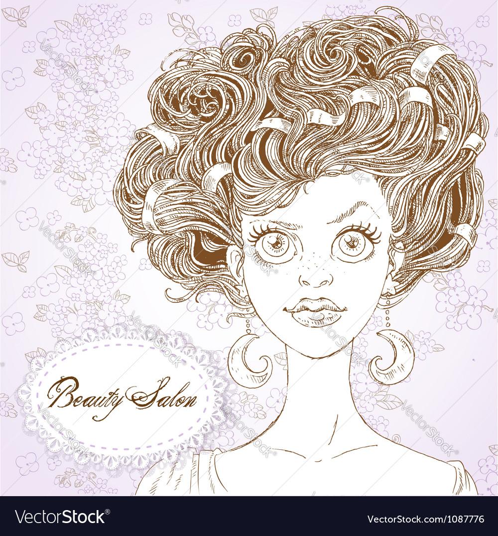 Girl with half moon earrings vector | Price: 1 Credit (USD $1)