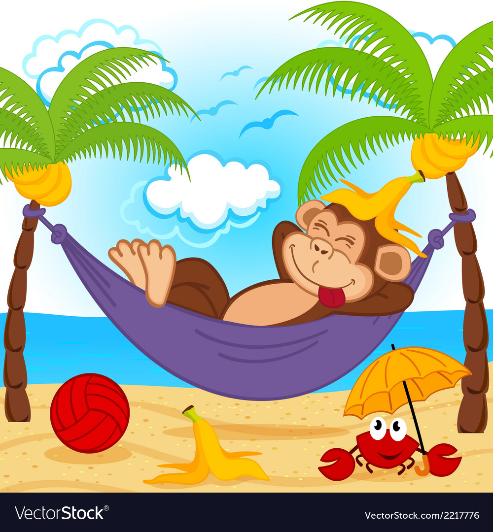 Monkey on hammock vector | Price: 1 Credit (USD $1)