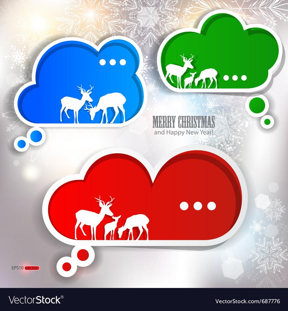 Paper speech bubble winter design vector | Price: 1 Credit (USD $1)