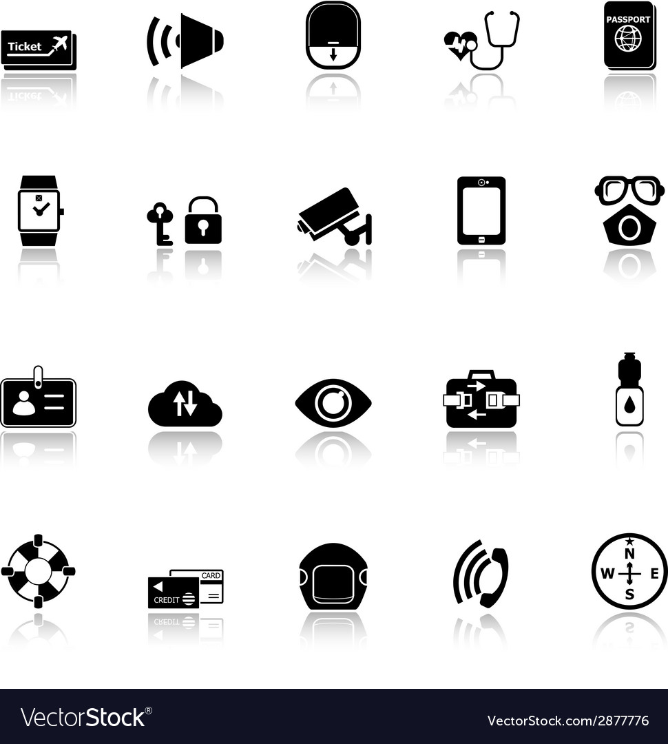 Passenger security icons with reflect on white vector | Price: 1 Credit (USD $1)