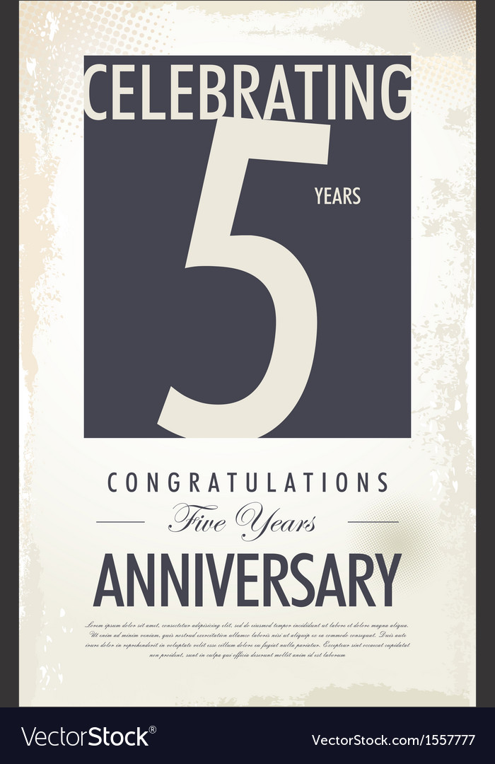 5 years anniversary retro background vector | Price: 1 Credit (USD $1)