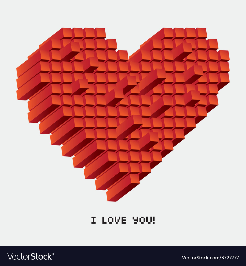 A pixel heart in perspective vector | Price: 1 Credit (USD $1)