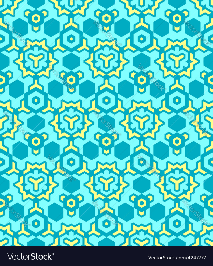 Abstract geometric yellow blue seamless pattern vector