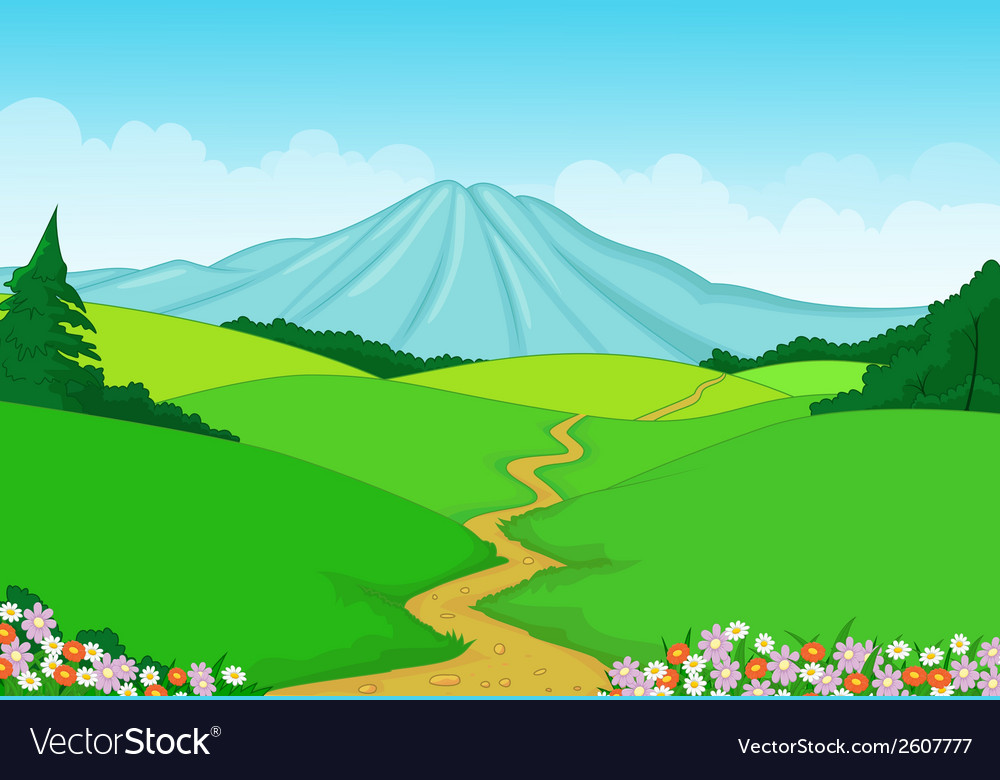 Beautiful green landscape cartoon background vector | Price: 1 Credit (USD $1)