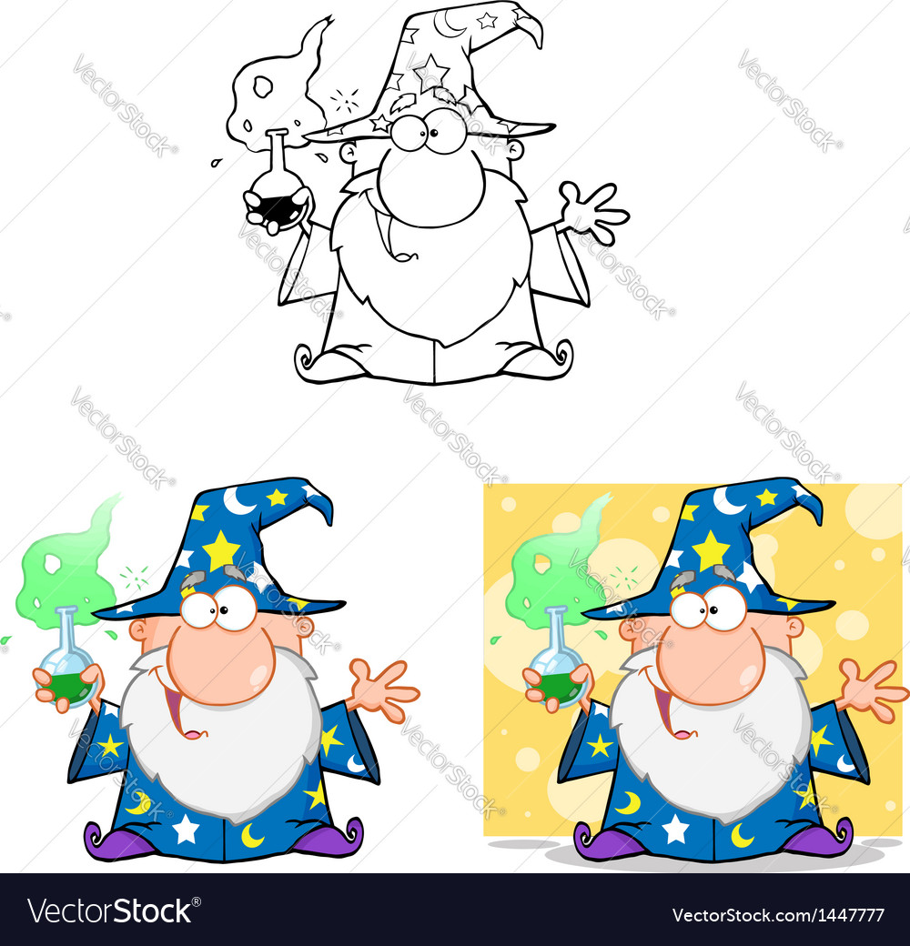 Crazy wizard holding a magic potion collection vector | Price: 3 Credit (USD $3)