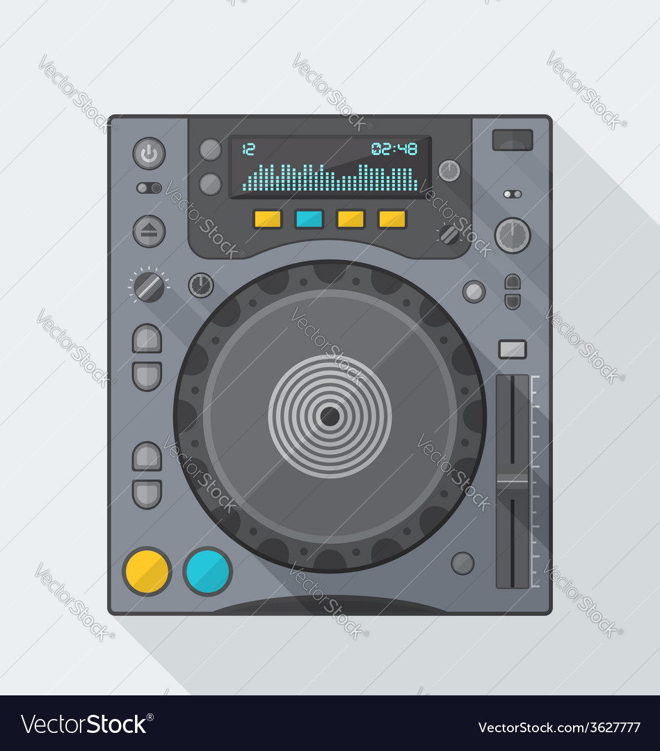 Flat style dj cd player icon with shadow vector   Price: 1 Credit (USD $1)