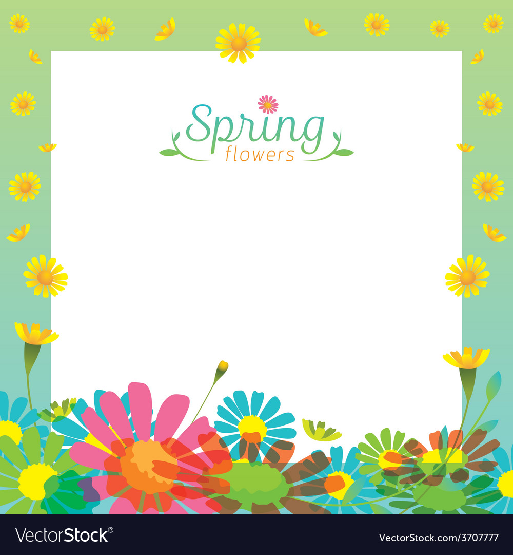 Flowers spring season frame vector | Price: 1 Credit (USD $1)