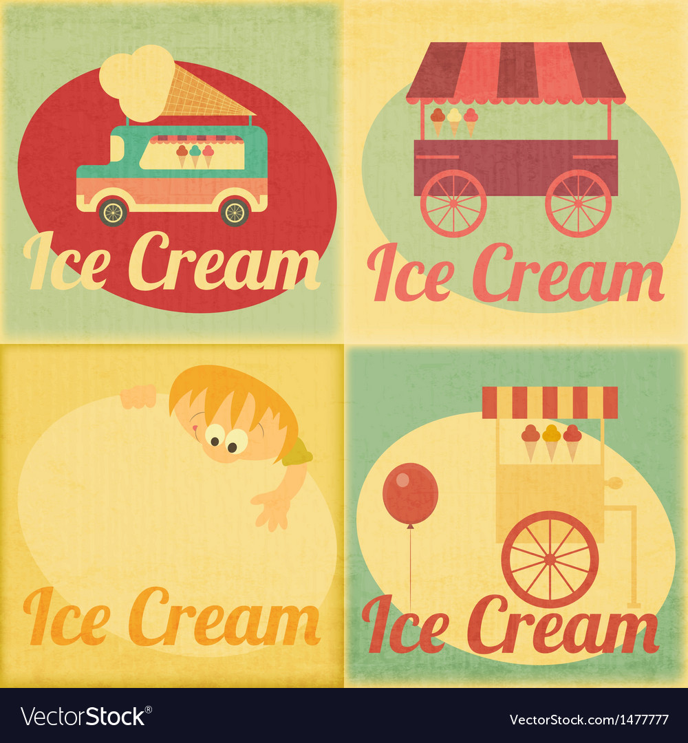 Ice cream retro labels vector | Price: 3 Credit (USD $3)