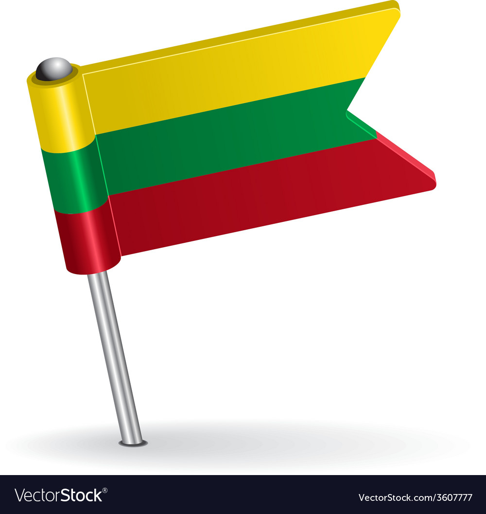 Lithuanian pin icon flag vector | Price: 1 Credit (USD $1)