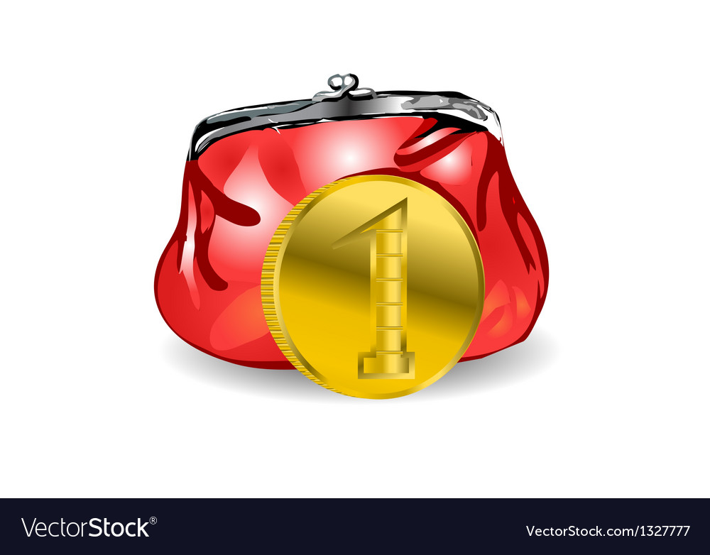 Purse and coin vector | Price: 1 Credit (USD $1)