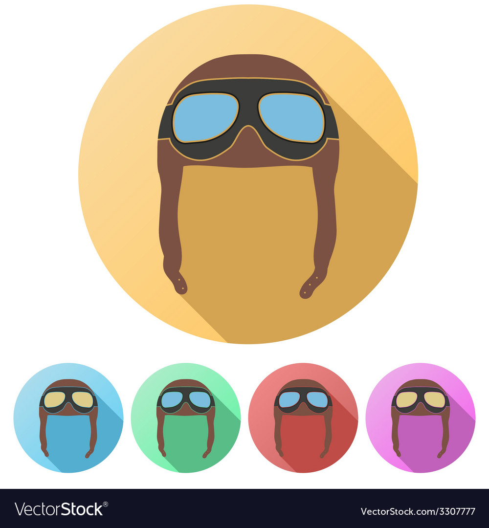 Set flat icons of retro aviator pilot helmet with vector | Price: 1 Credit (USD $1)