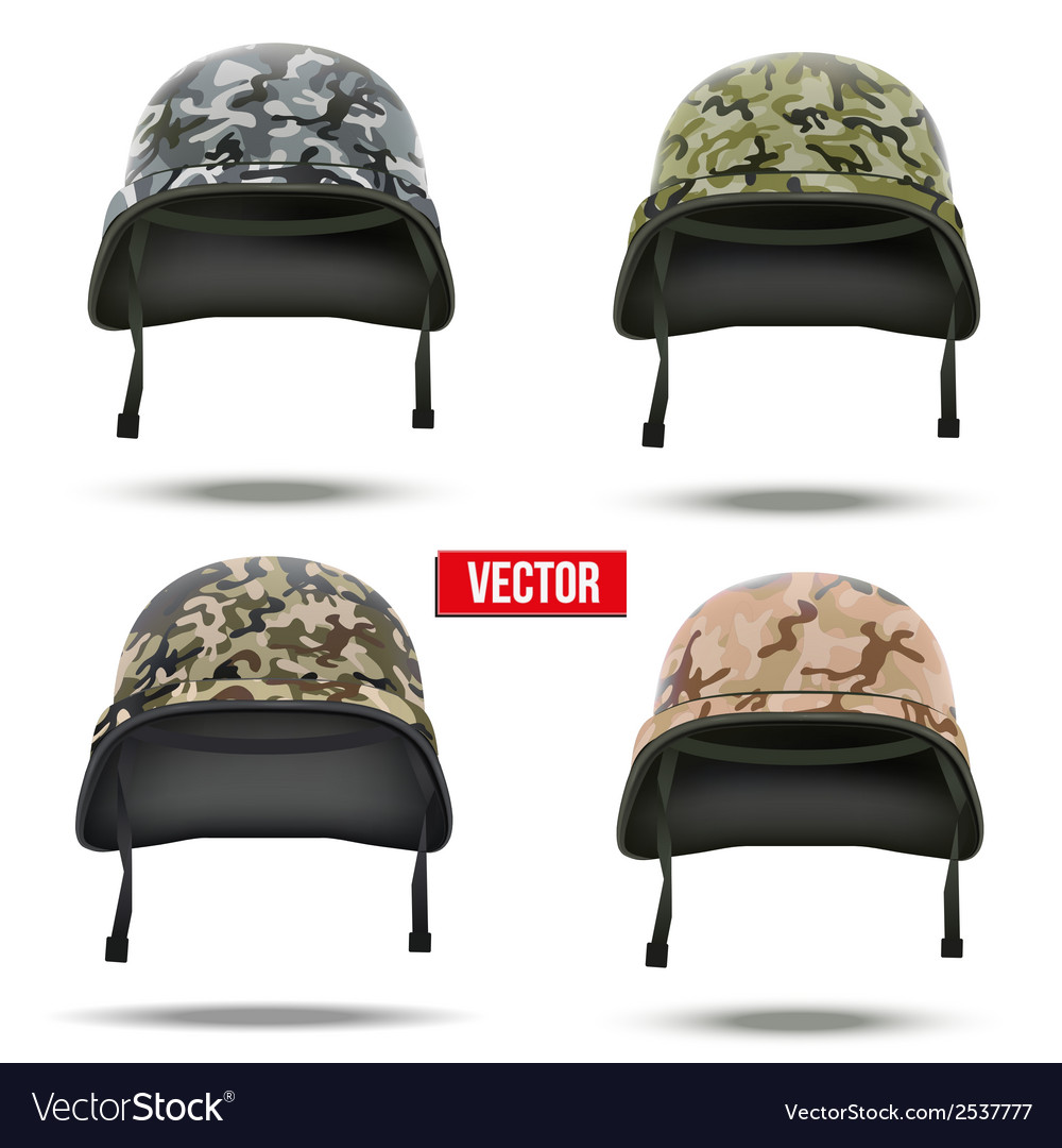 Set of military camouflage helmets vector | Price: 1 Credit (USD $1)