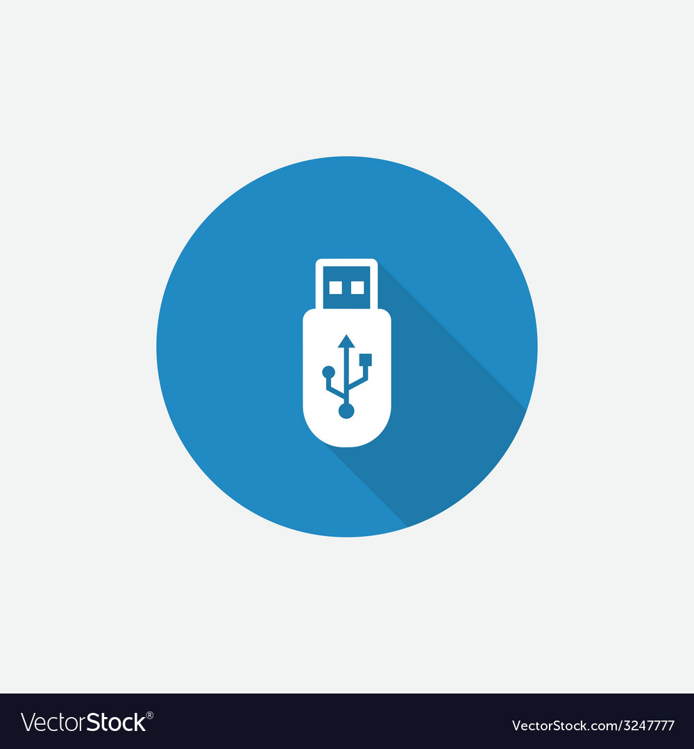 Usb flat blue simple icon with long shadow vector | Price: 1 Credit (USD $1)