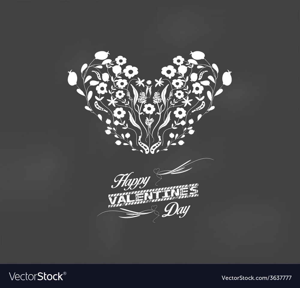 Valentine romantic floral card heart made of vector   Price: 1 Credit (USD $1)